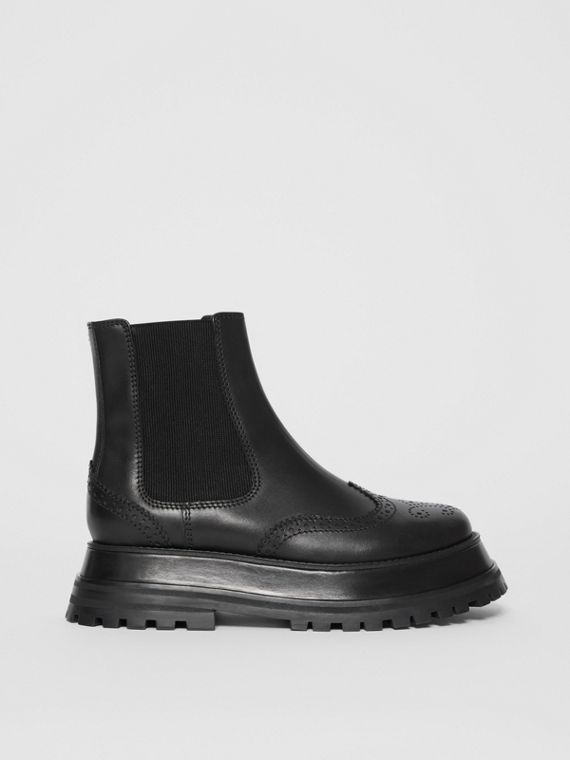 Brogue Detail Leather Chelsea Boots in Black