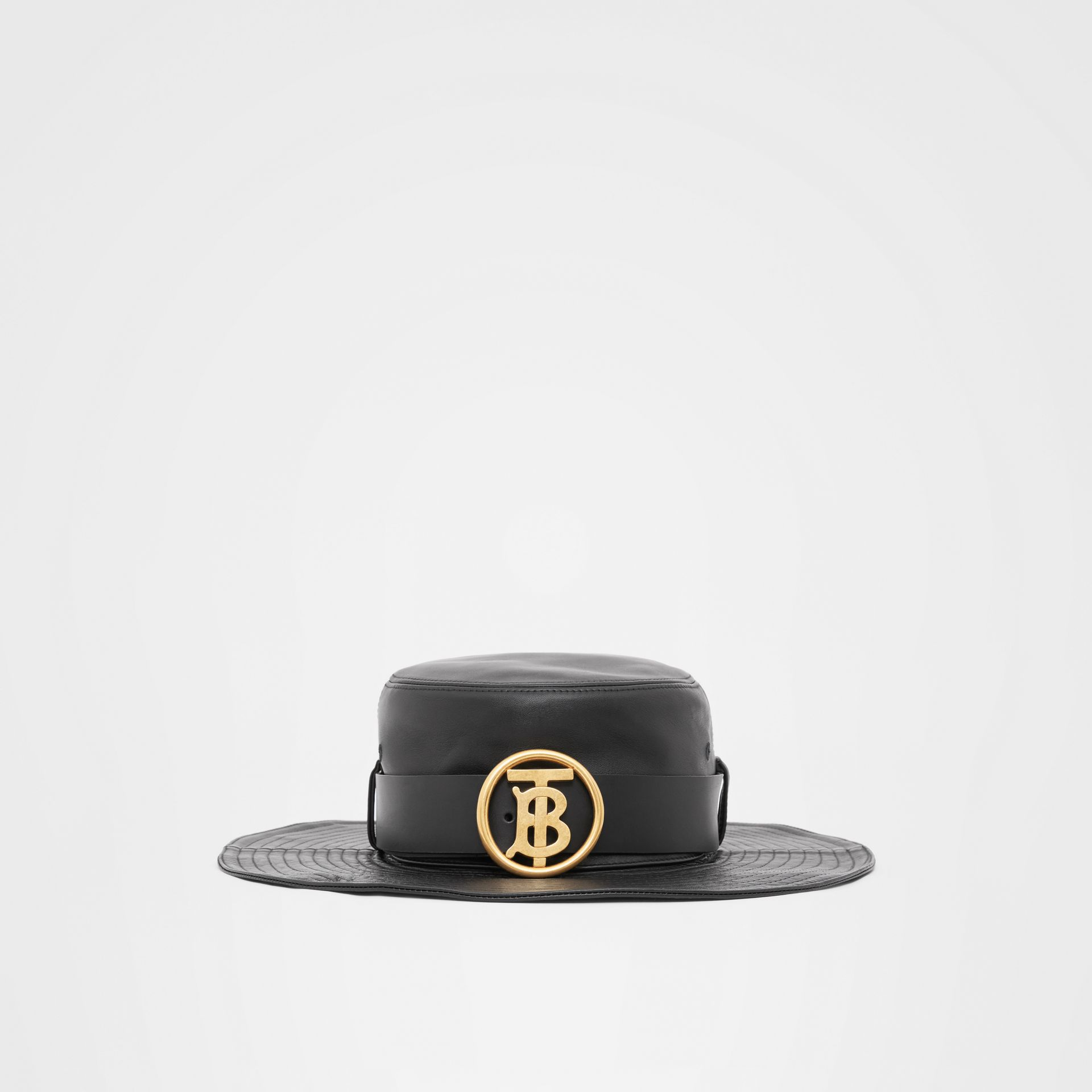 Monogram Motif Belt Detail Lambskin Desert Hat in Black | Burberry - gallery image 3