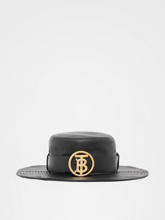 Monogram Motif Belt Detail Lambskin Desert Hat in Black