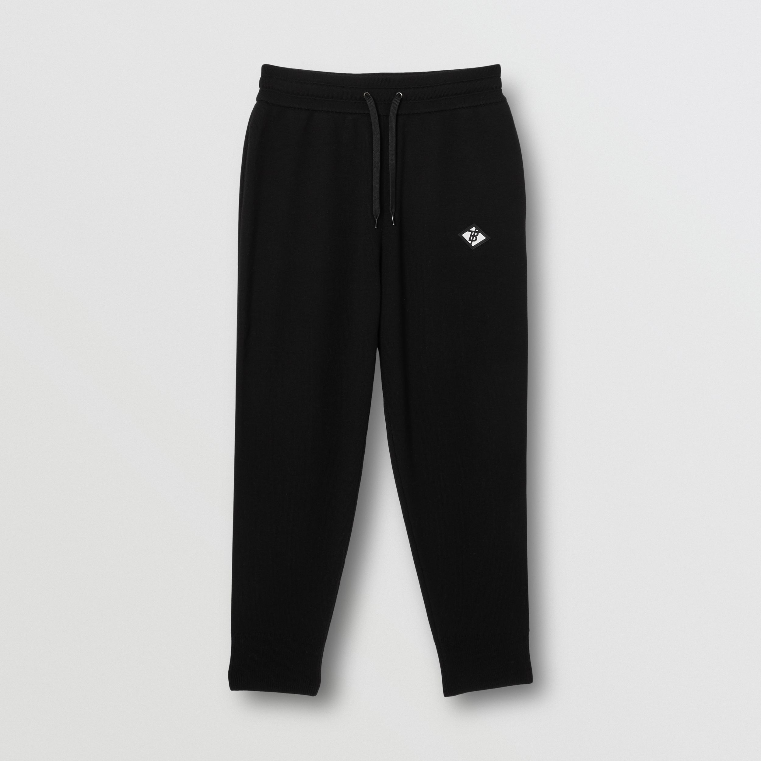 Logo Graphic Merino Wool Trackpants in Black - Men | Burberry - 4
