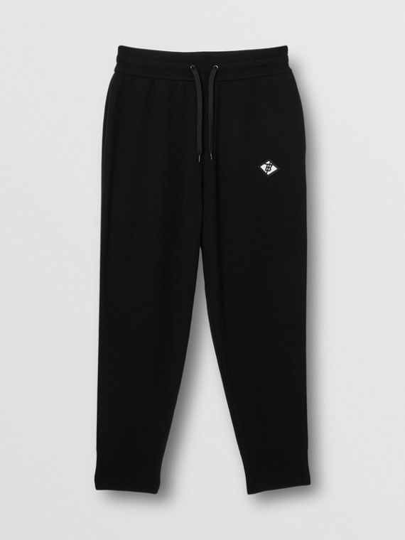 Logo Graphic Merino Wool Trackpants in Black