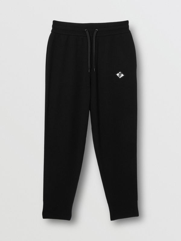 Logo Graphic Merino Wool Trackpants in Black - Men | Burberry - cell image 3