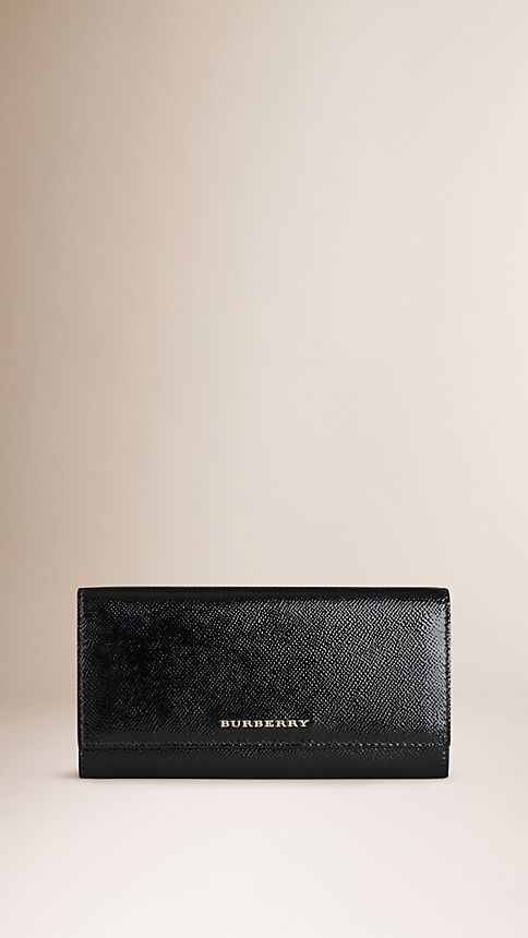 Black Patent London Leather Continental Wallet - Image 1