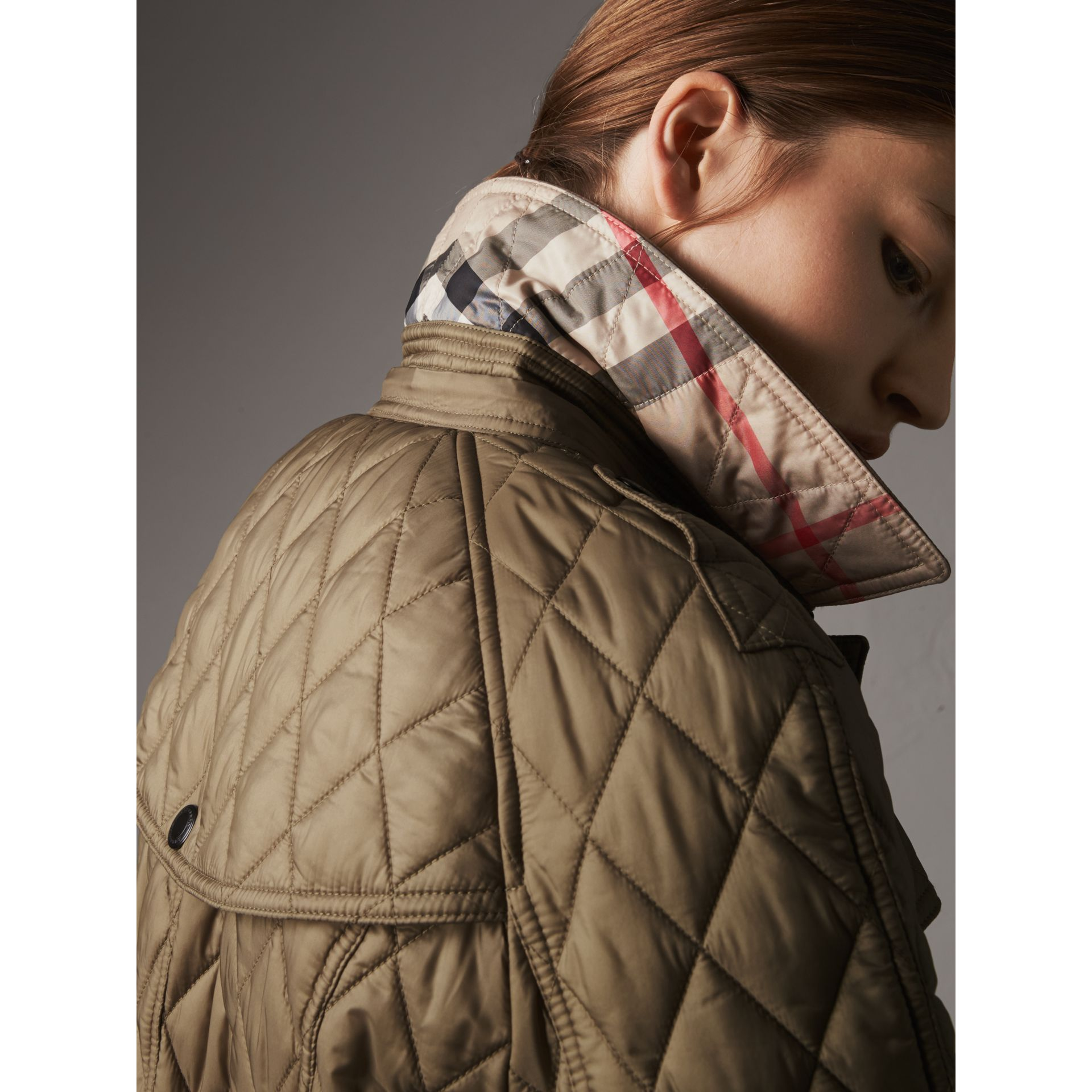 Quilted Trench Jacket with Detachable Hood in Pale Fawn - Women | Burberry - gallery image 1