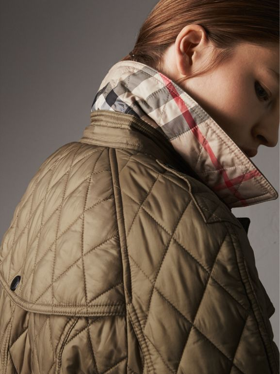 Quilted Trench Jacket with Detachable Hood in Pale Fawn - Women | Burberry - cell image 1