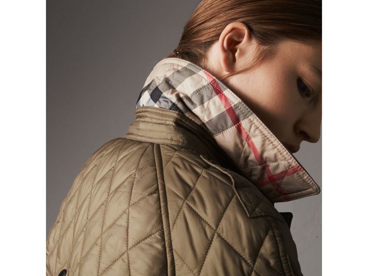 Quilted Trench Jacket with Detachable Hood in Pale Fawn - Women | Burberry Australia - cell image 1