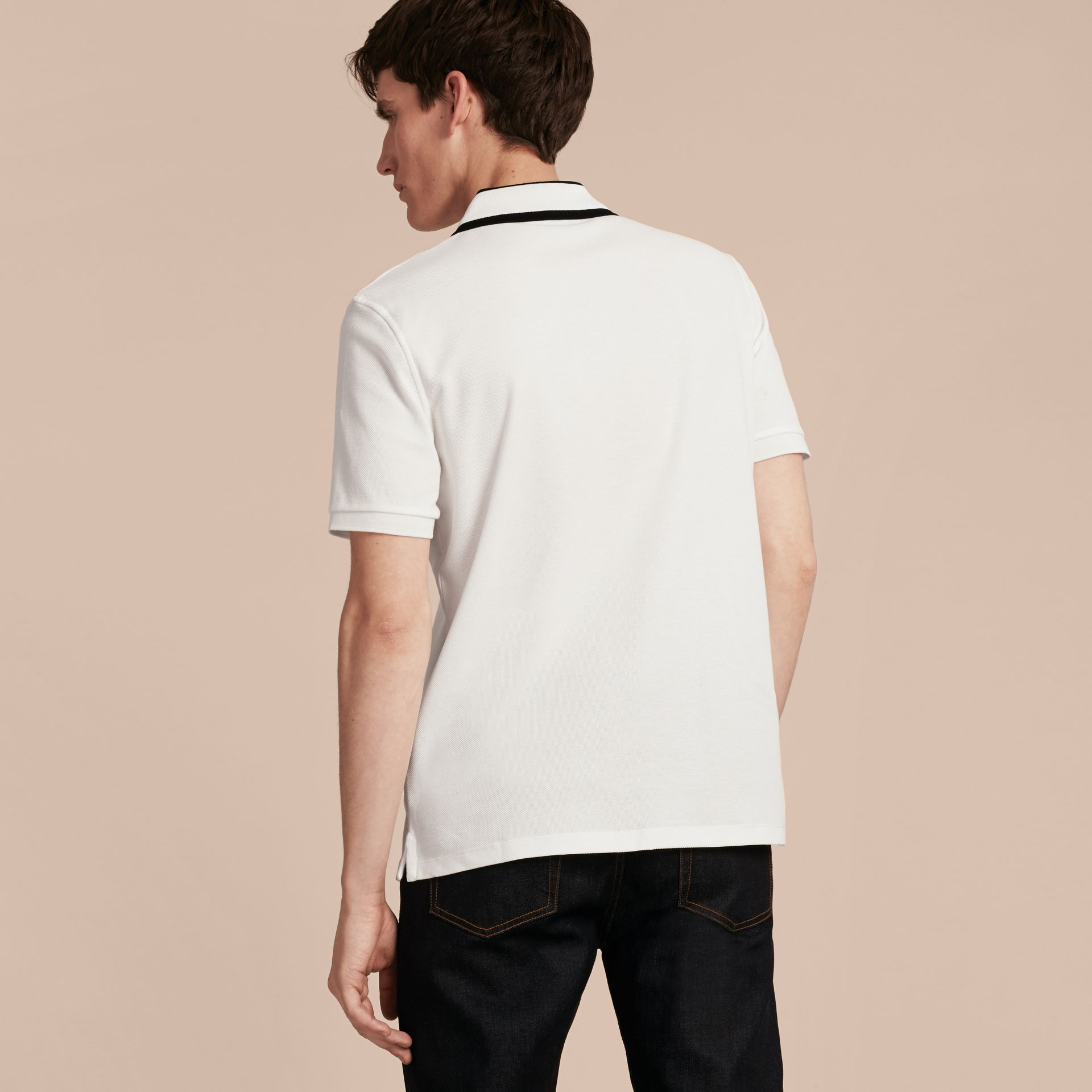 Striped Collar Cotton Piqué Polo Shirt White - gallery image 3