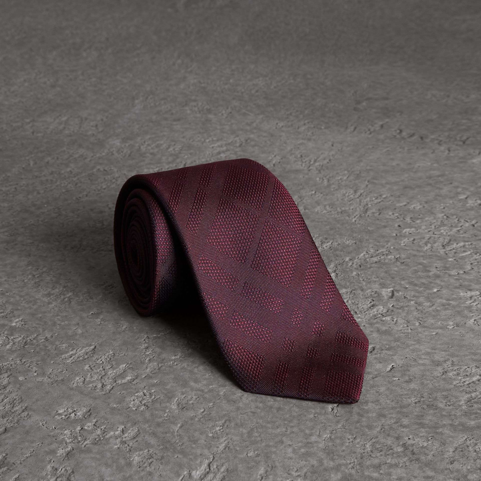 Classic Cut Check Silk Jacquard Tie in Deep Claret - Men | Burberry United States - gallery image 0