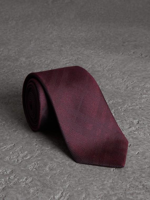 Classic Cut Check Silk Jacquard Tie in Deep Claret