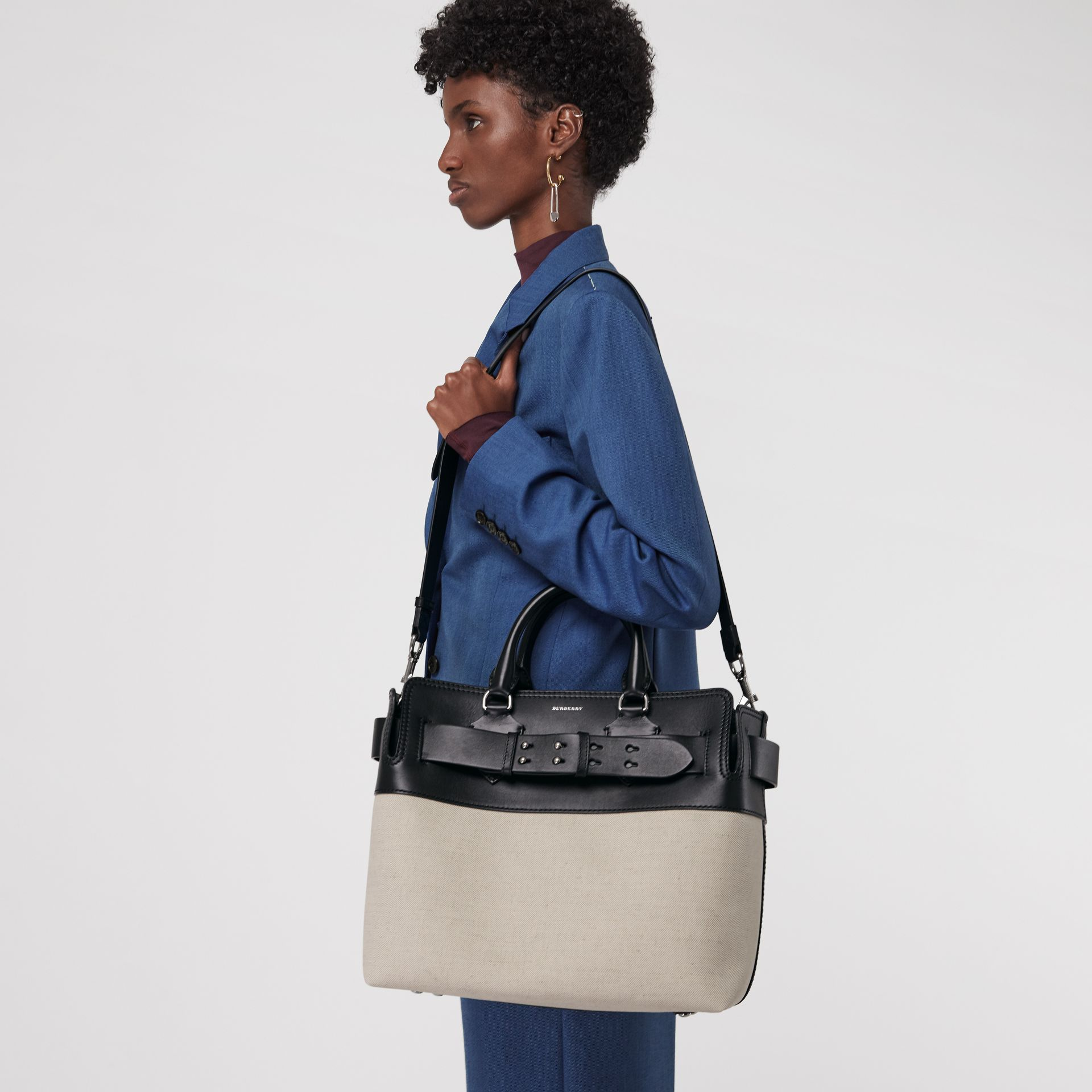 The Medium Canvas and Leather Belt Bag in Black/stone - Women | Burberry - gallery image 3