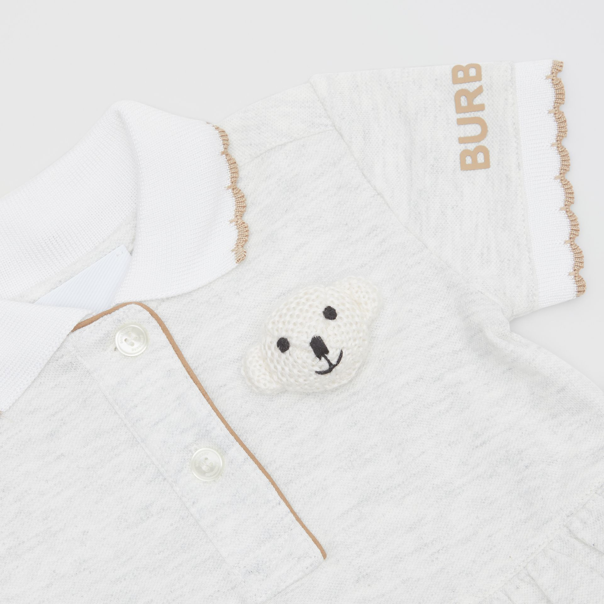 Thomas Bear Detail Stretch Cotton Dress with Bloomers in White Melange - Children | Burberry United States - gallery image 1