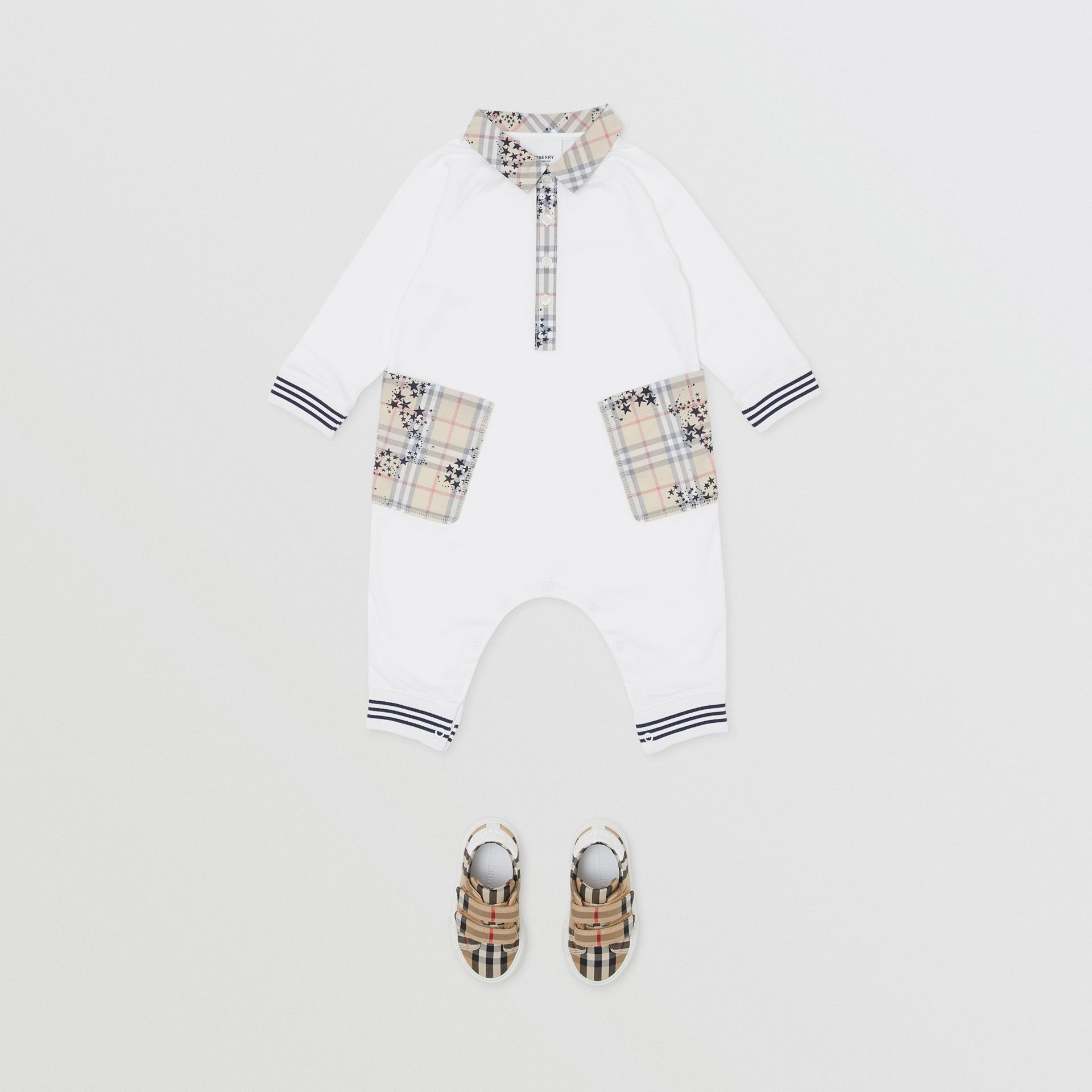 Star Print Check Trim Cotton Jumpsuit in White - Children | Burberry - gallery image 2
