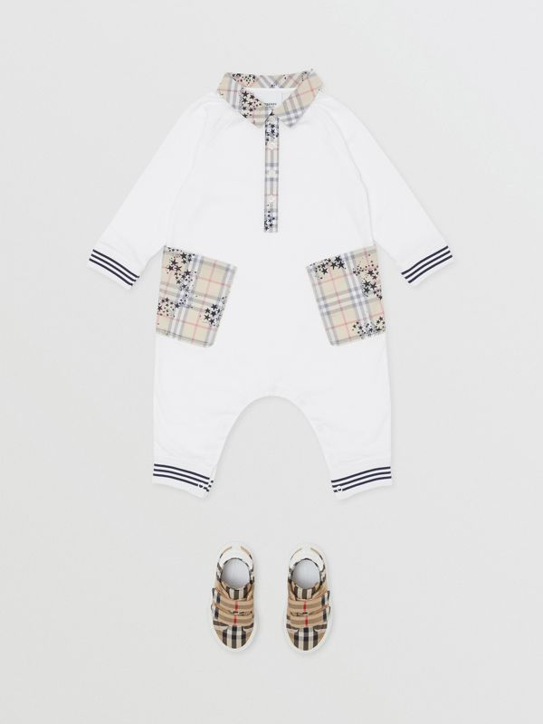Star Print Check Trim Cotton Jumpsuit in White - Children | Burberry - cell image 2