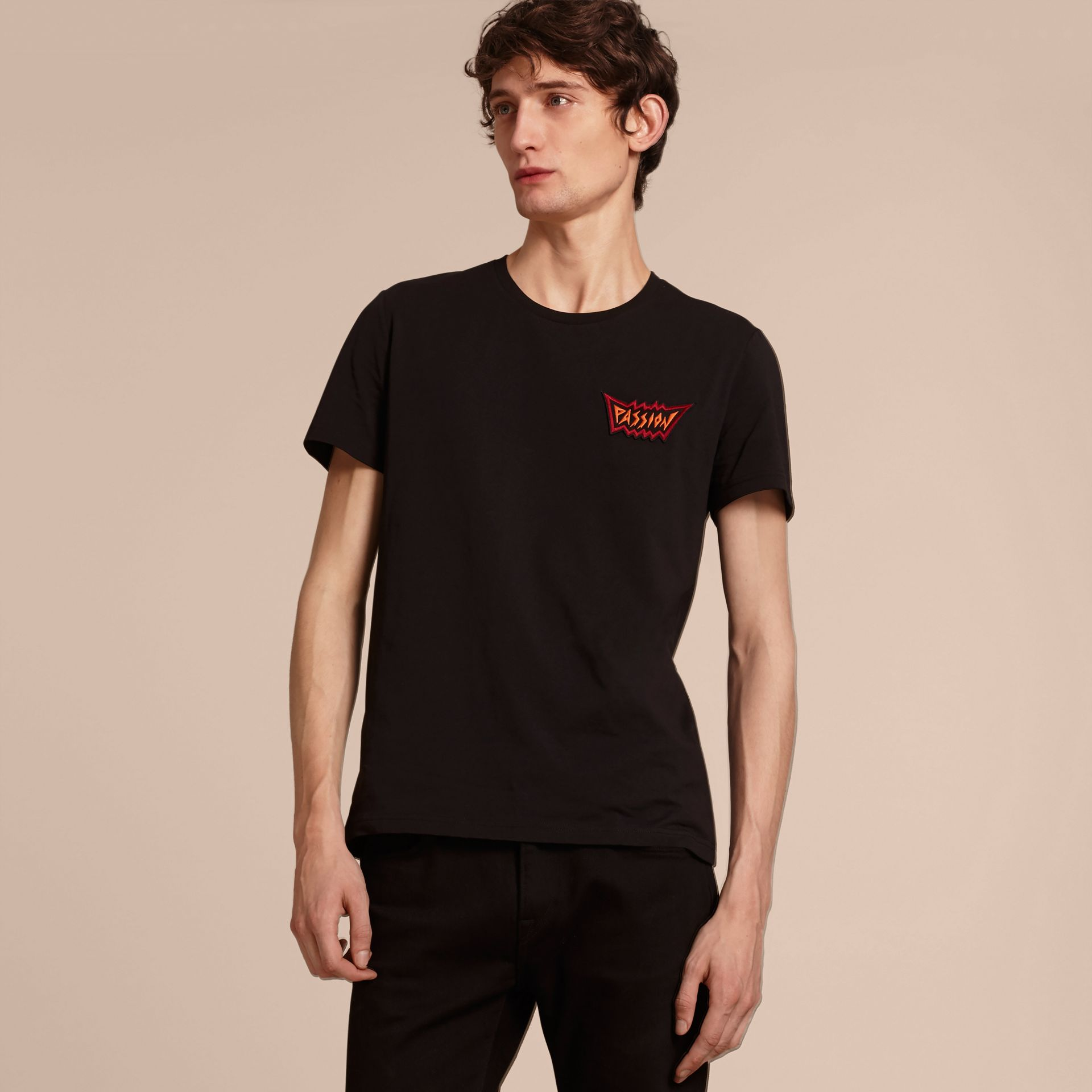 Passion Motif Cotton T-shirt in Black - gallery image 6