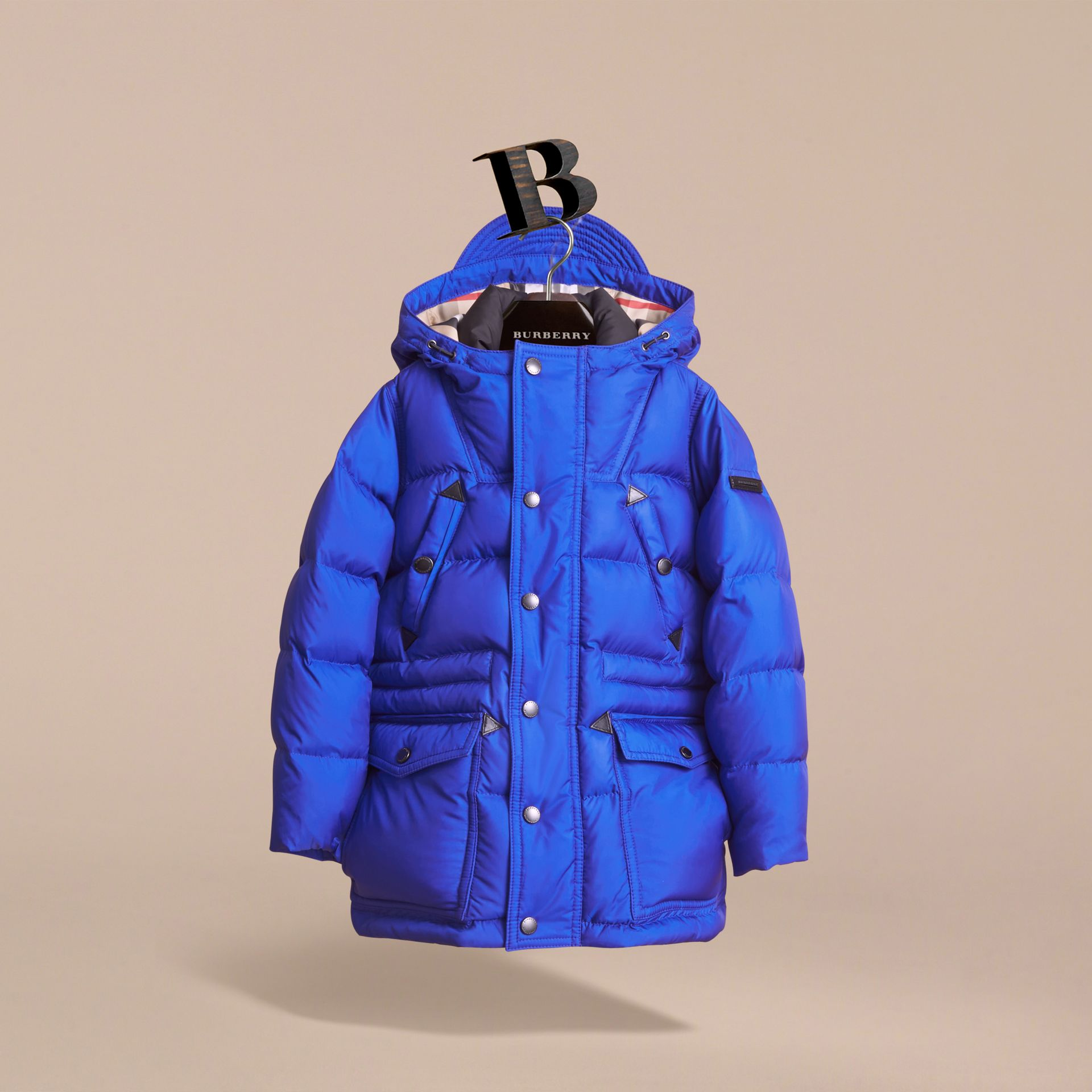 Down-filled Hooded Puffer Jacket in Brilliant Blue - Boy | Burberry - gallery image 2