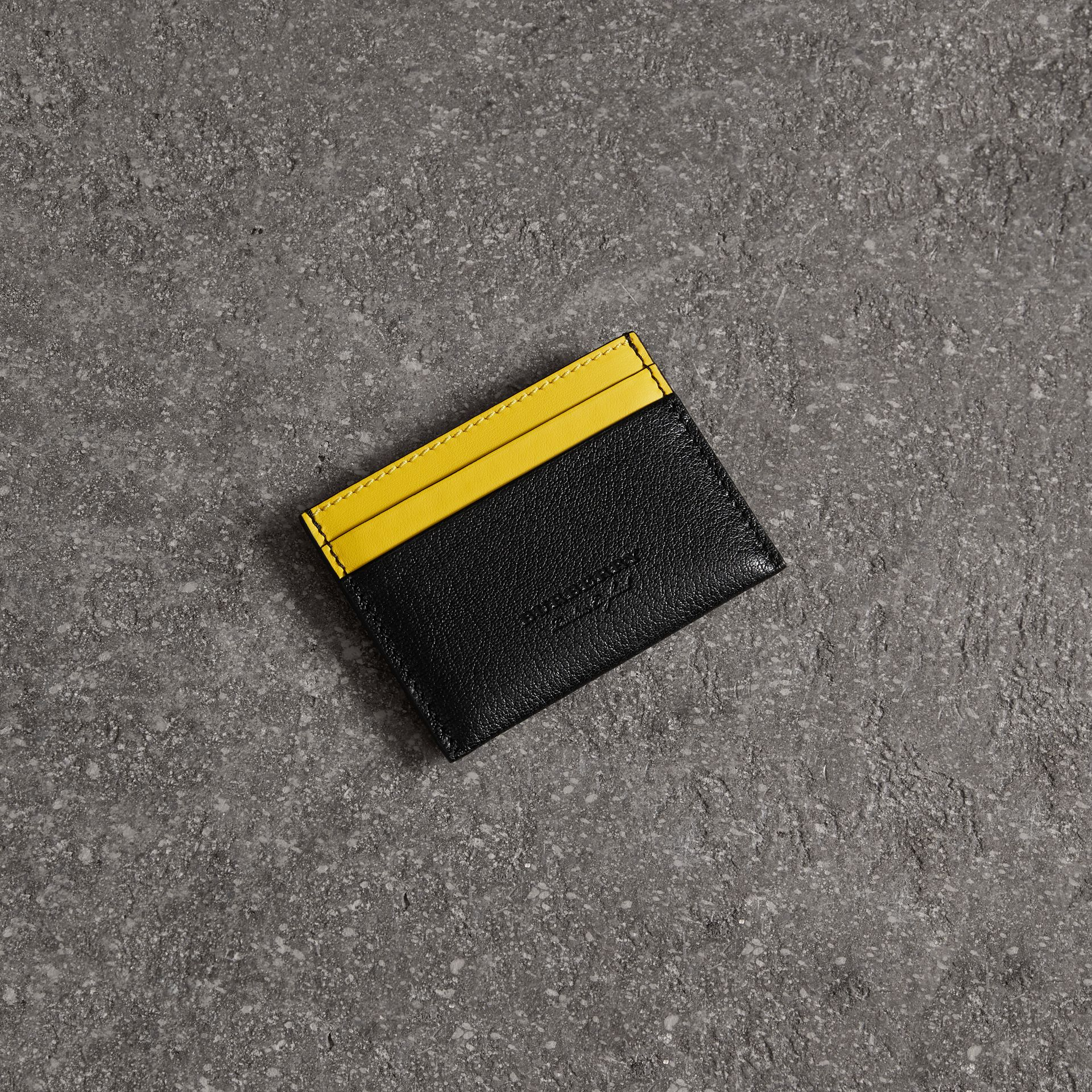 Two-tone Leather Card Case in Black | Burberry - gallery image 0