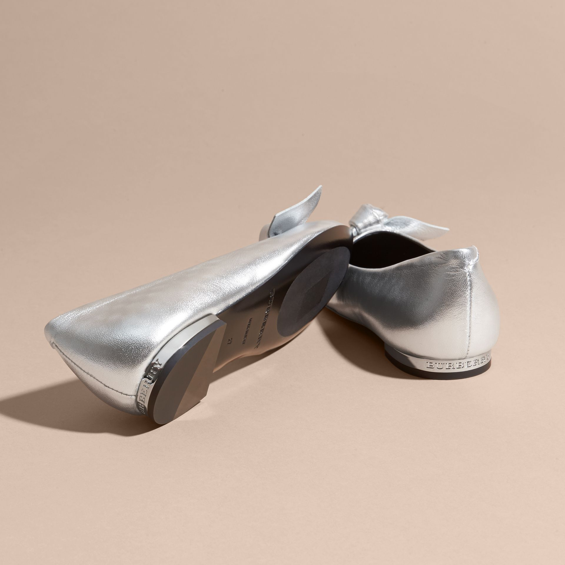Silver Bow Detail Metallic Leather Ballerinas Silver - gallery image 2