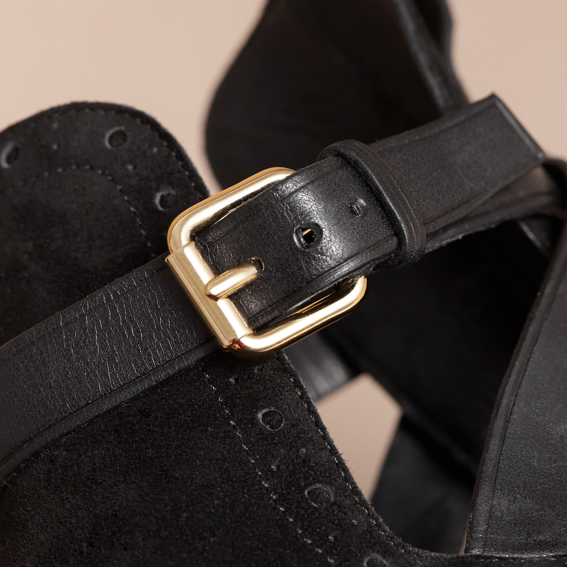 Cut-out Detail Suede Ankle Boots in Black - Women | Burberry Singapore - gallery image 2