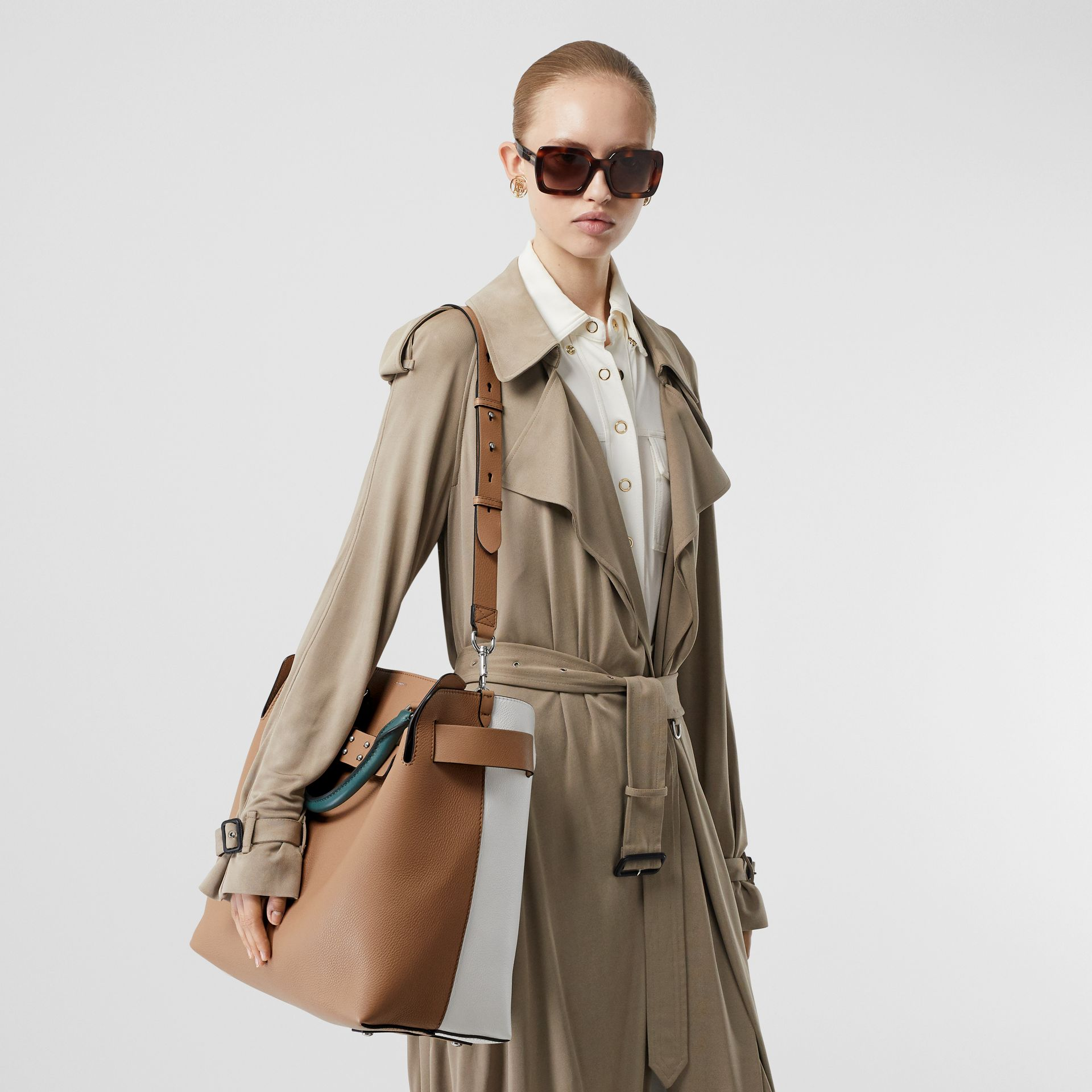 The Large Tri-tone Leather Belt Bag in Light Camel | Burberry Australia - gallery image 2
