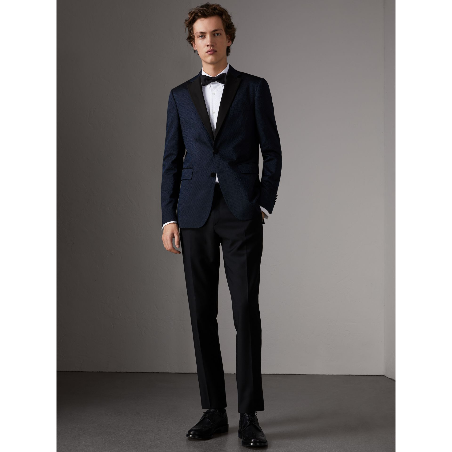 Soho Fit Jacquard Evening Jacket in Navy - Men | Burberry - gallery image 7