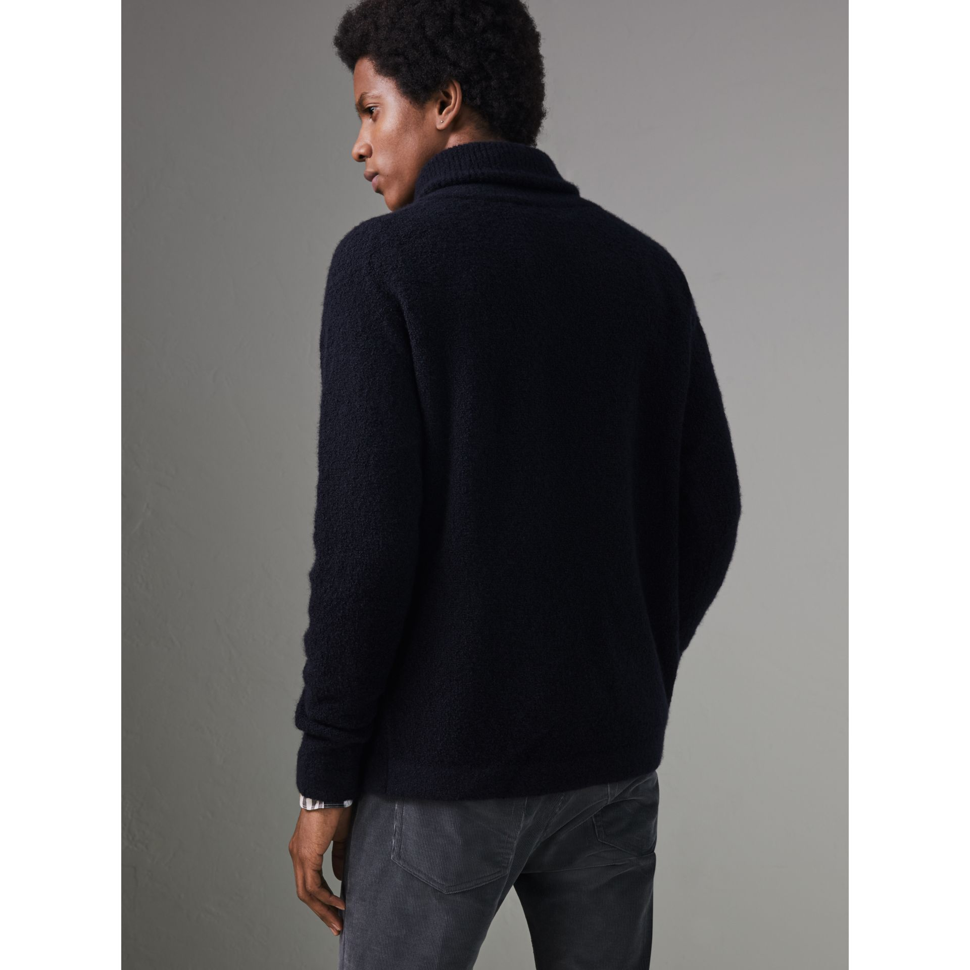 Zip-neck Cashmere Blend Fleece Sweater in Navy - Men | Burberry - gallery image 2