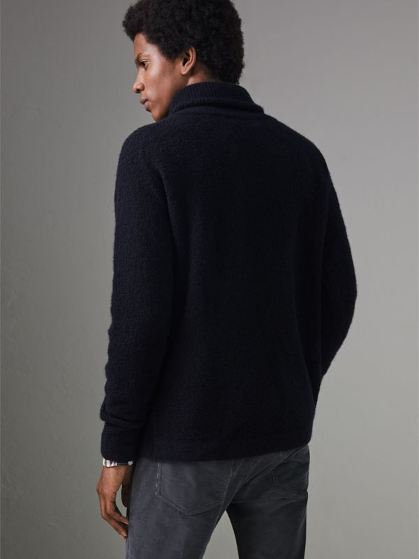 Zip-neck Cashmere Blend Fleece Sweater in Navy - Men | Burberry - cell image 2
