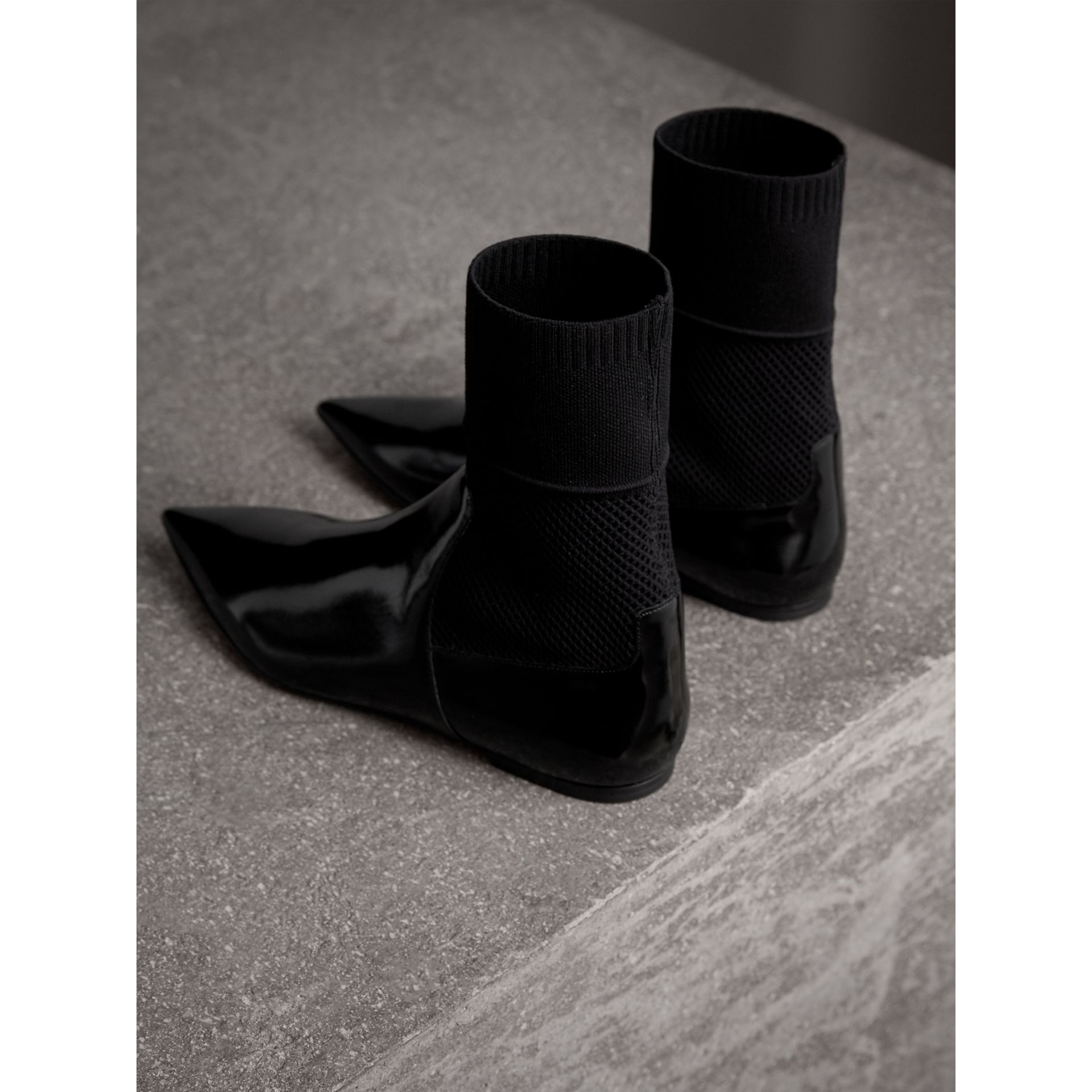 Patent Leather and Knitted Mesh Ankle Boots in Black - Women | Burberry - gallery image 3