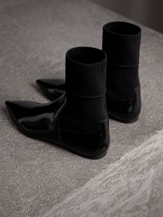 Patent Leather and Knitted Mesh Ankle Boots in Black - Women | Burberry - cell image 3