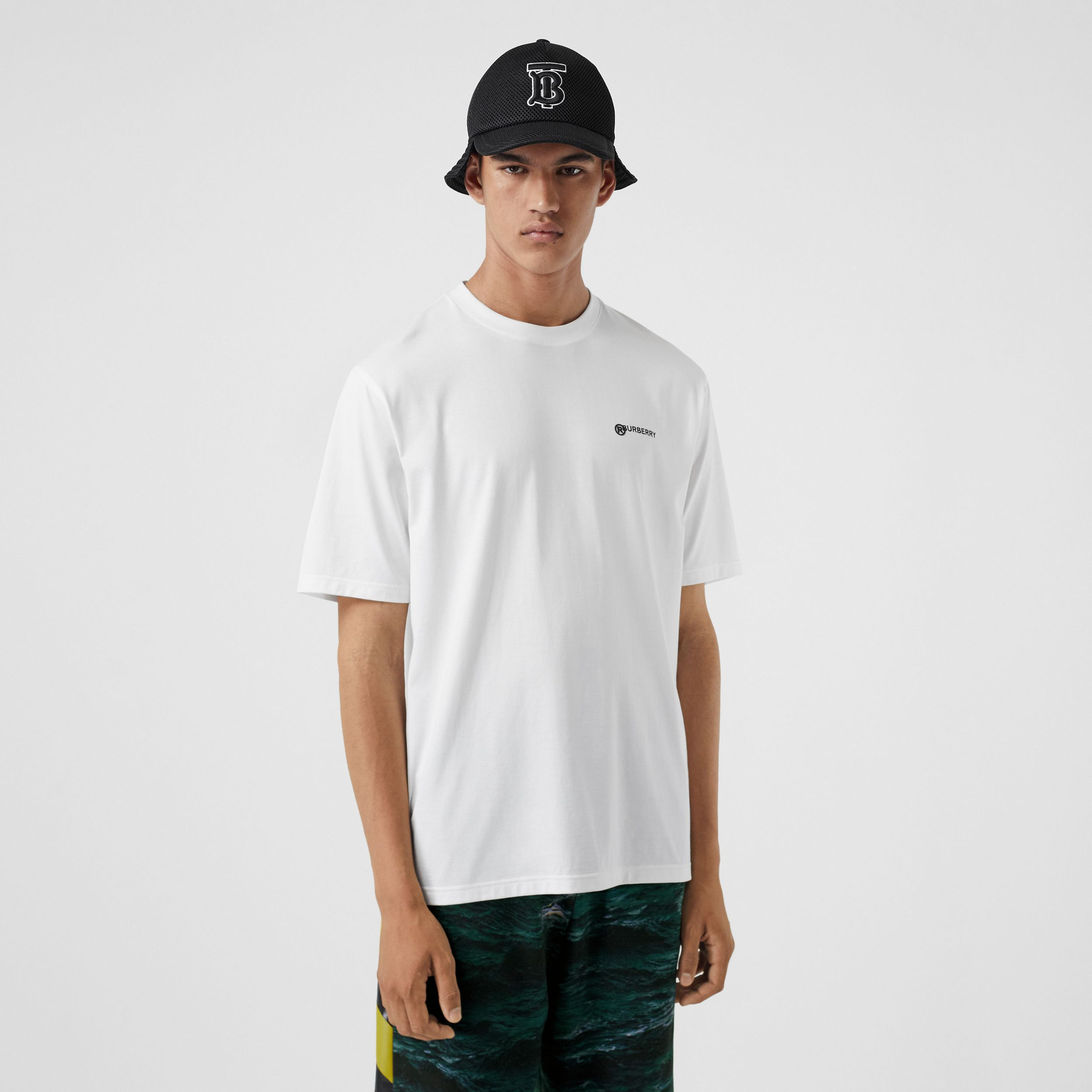 Location Print Cotton Oversized T-shirt in White - Men | Burberry United States - 1