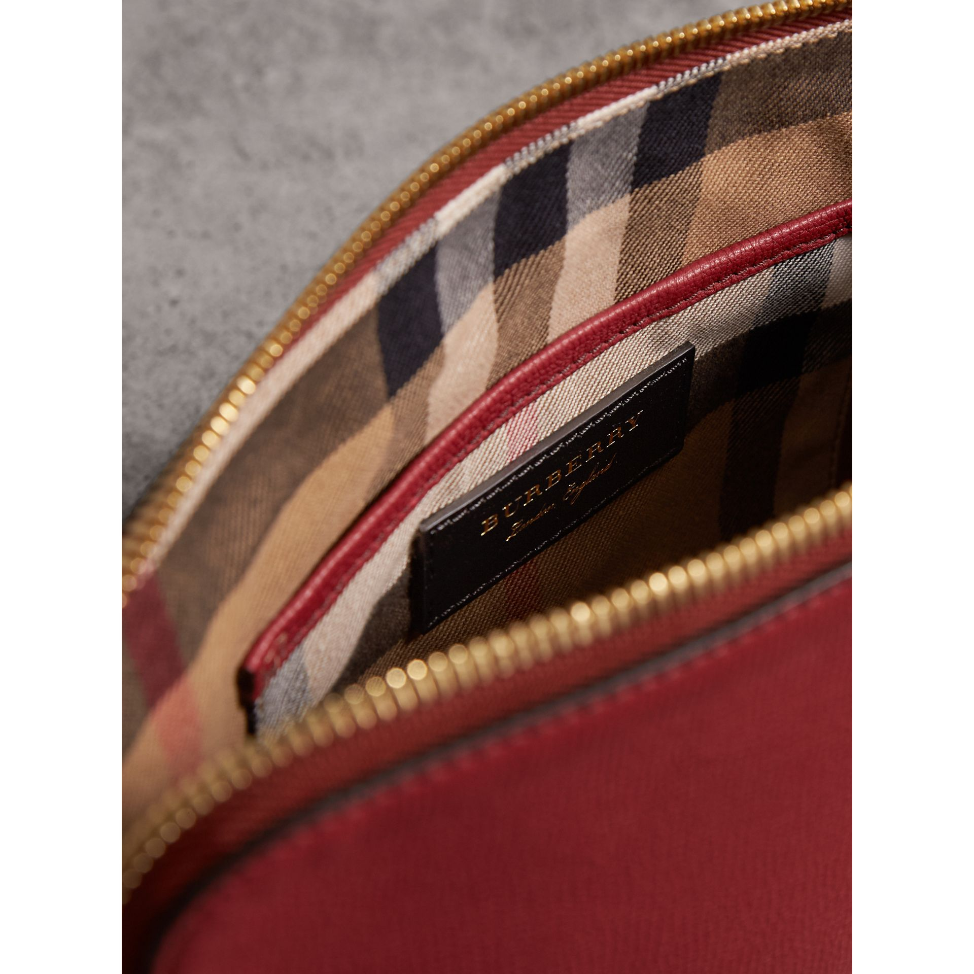 Grainy Leather Clutch Bag in Russet Red - Women | Burberry - gallery image 6