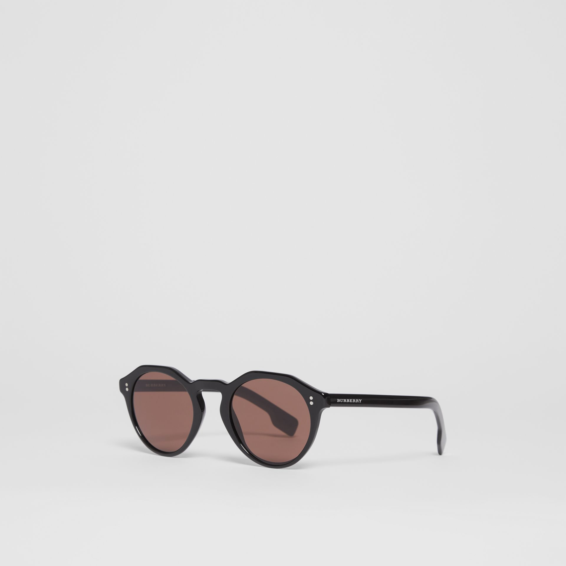Keyhole Round Frame Sunglasses in Black - Men | Burberry - gallery image 4