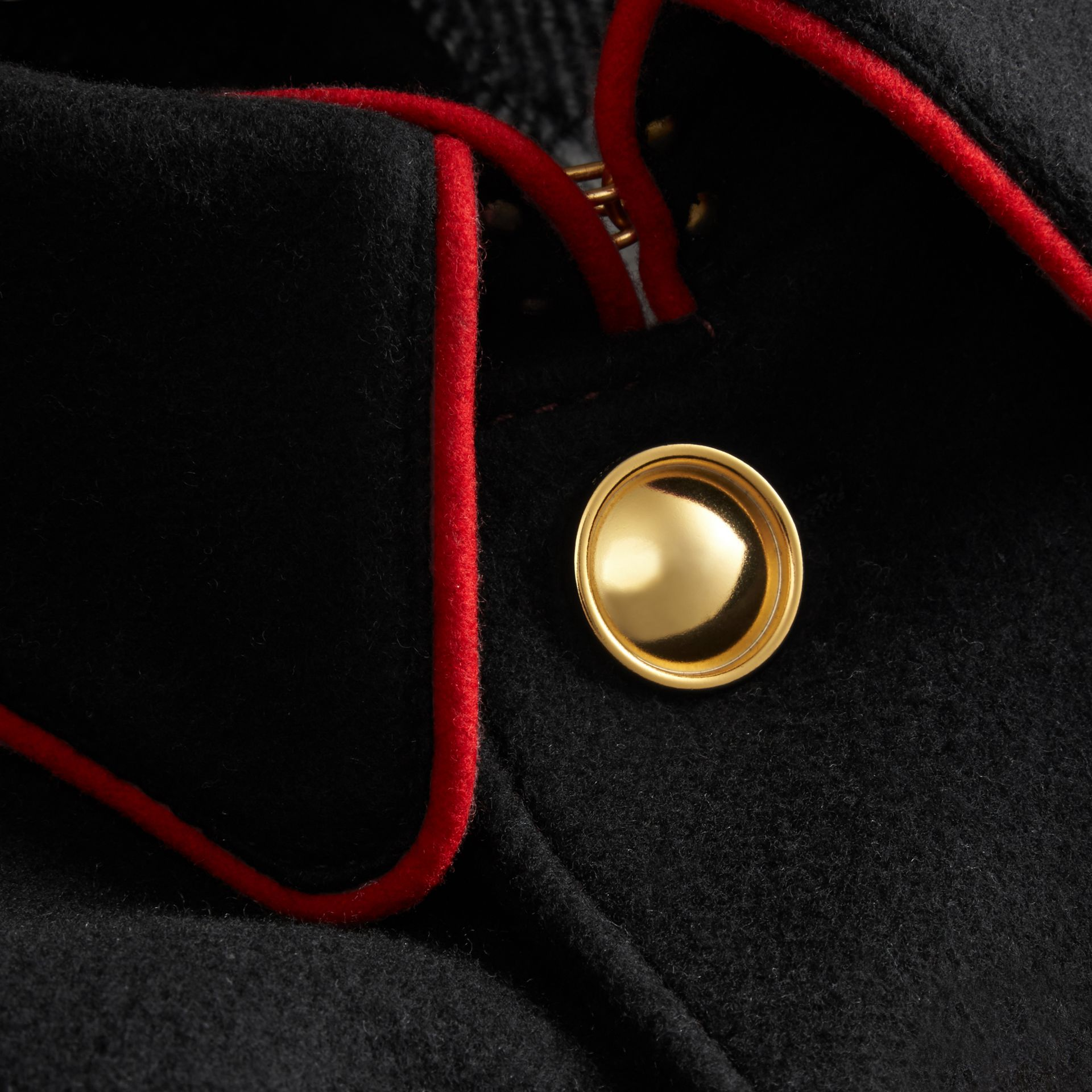 Black Wool Cashmere Blend Military Cape Coat - gallery image 2