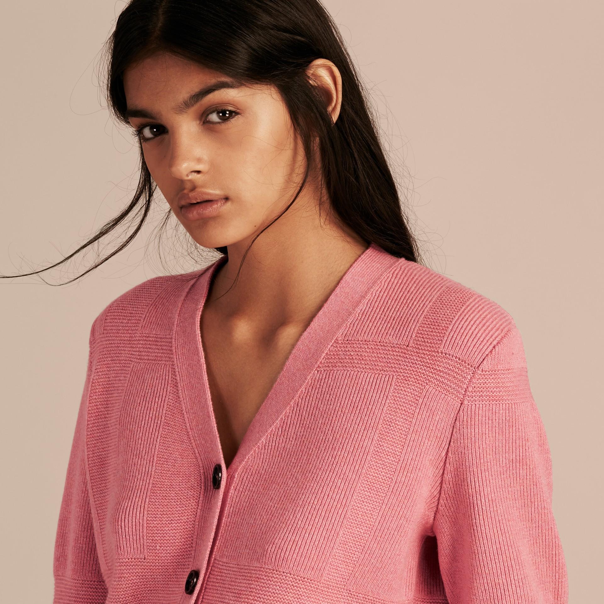 Hydrangea pink melange Check-knit Wool Cashmere Cardigan Hydrangea Pink Melange - gallery image 5