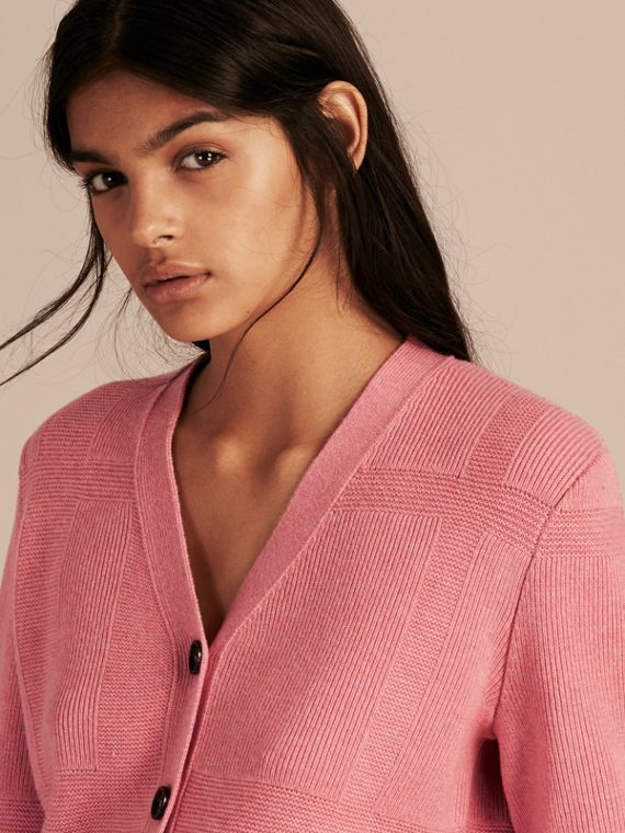 Check-knit Wool Cashmere Cardigan Hydrangea Pink Melange