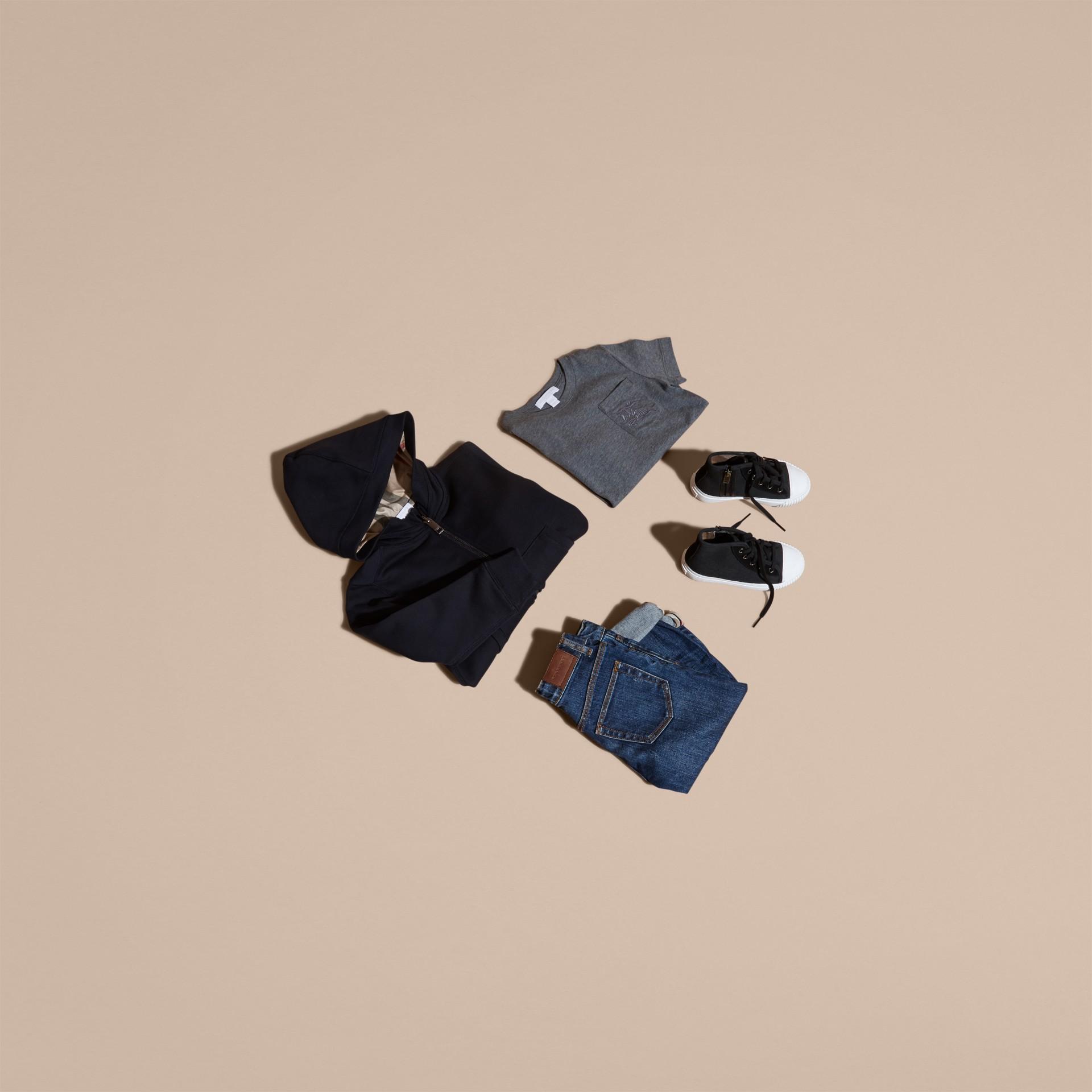 Navy scuro Felpa con cappuccio in cotone Navy Scuro - immagine della galleria 5