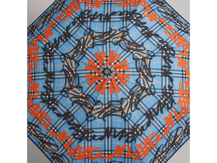 Graffiti Check Folding Umbrella in Light Azure | Burberry Canada - cell image 4