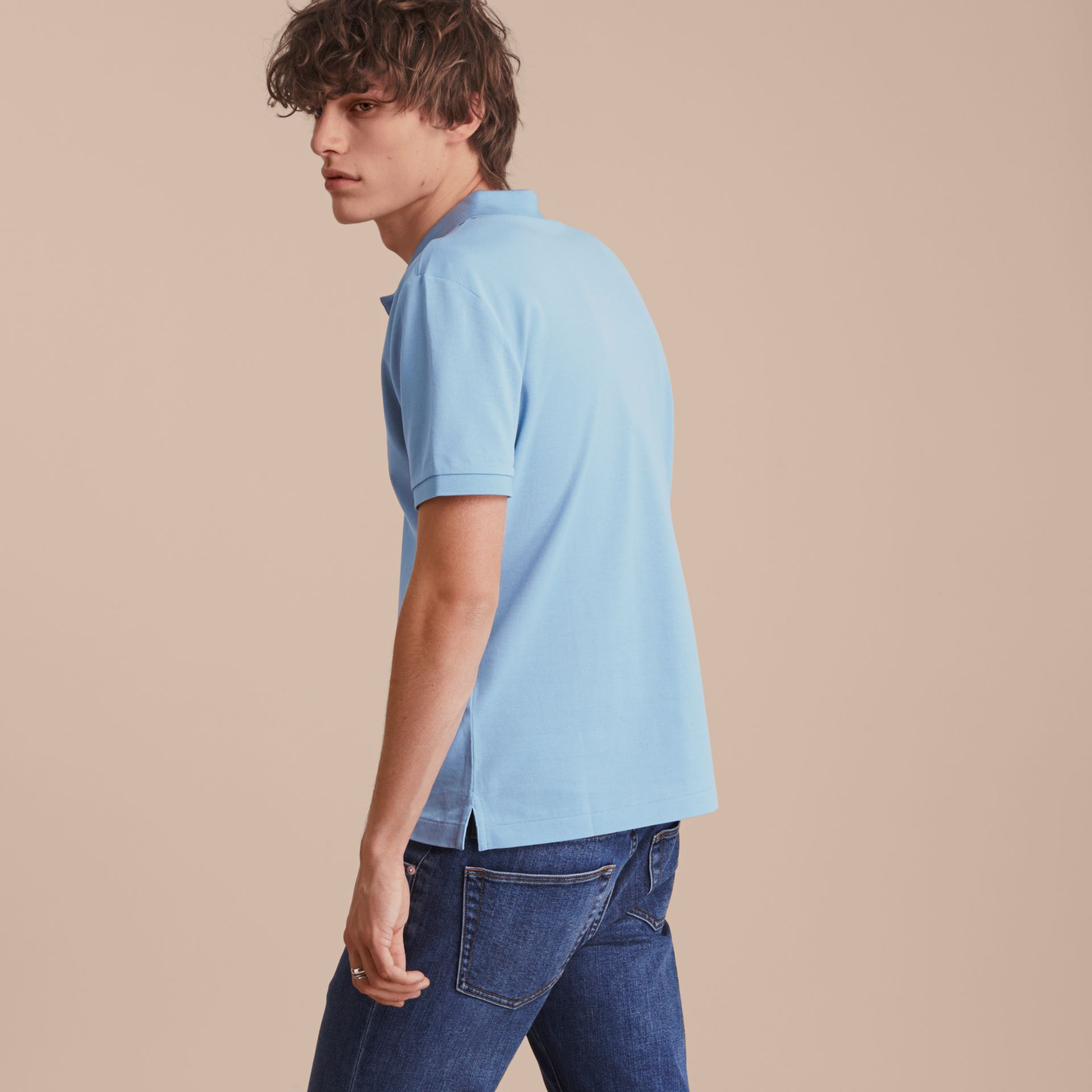 Fitted Mercerised Cotton-Piqué Polo Shirt Powder Blue - gallery image 3