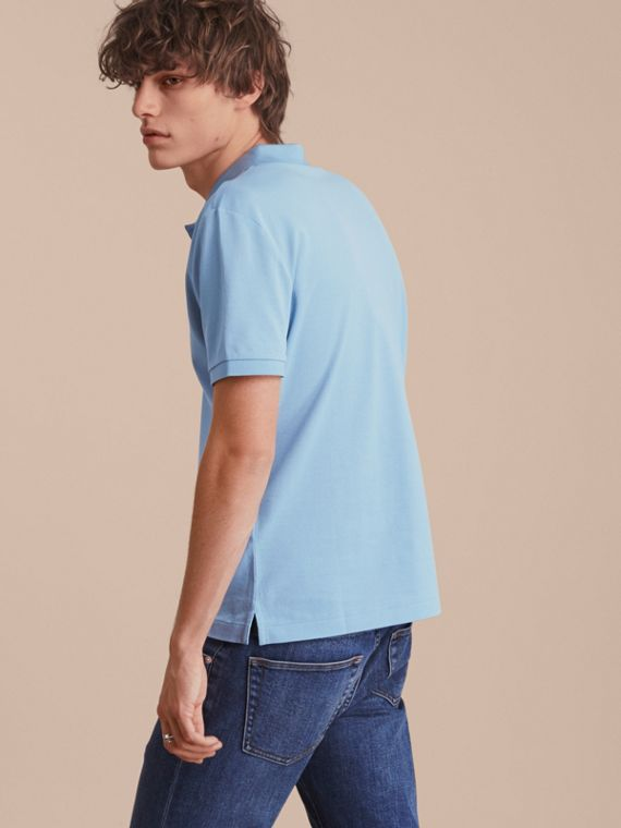 Fitted Mercerised Cotton-Piqué Polo Shirt Powder Blue - cell image 2