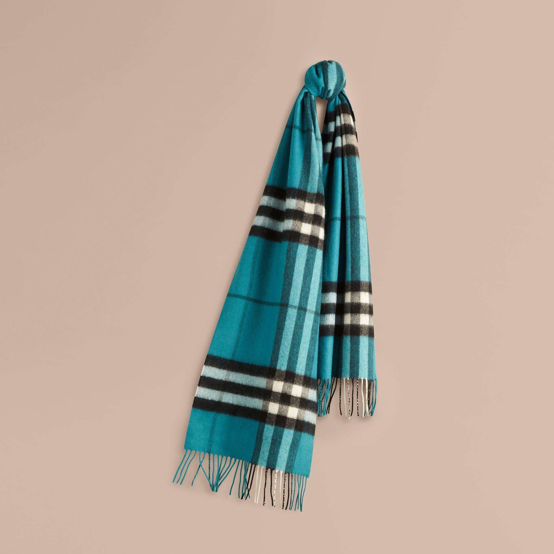 Dark aqua The Classic Cashmere Scarf in Check Dark Aqua - gallery image 6