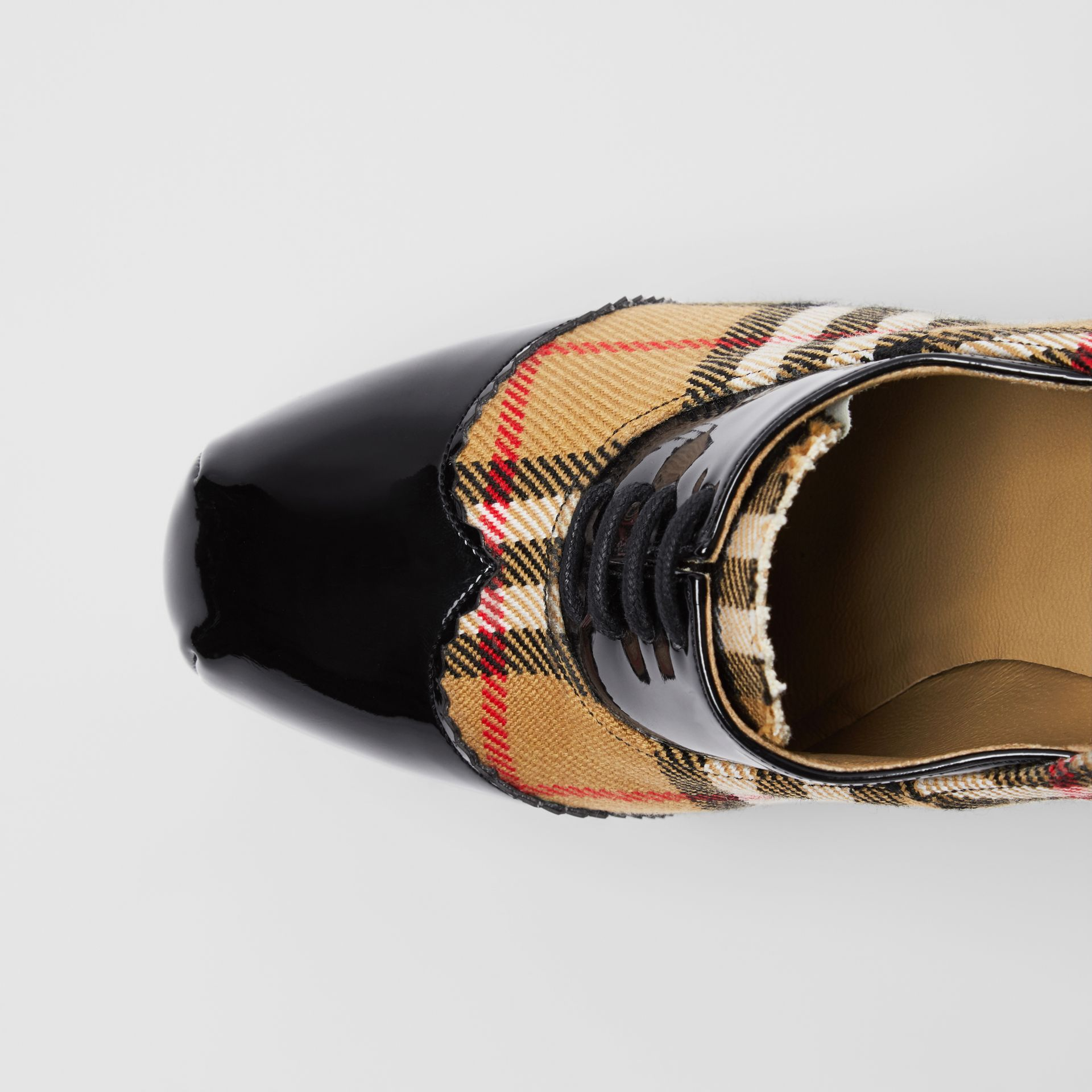 Vintage Check and Patent Lace-up Platforms in Black - Women | Burberry - gallery image 1