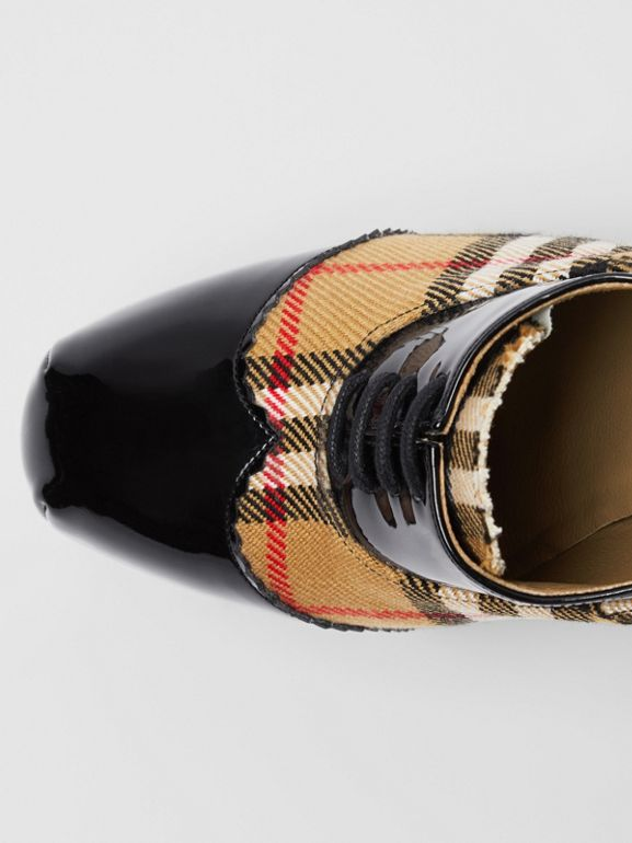 Vintage Check and Patent Lace-up Platforms in Black - Women | Burberry - cell image 1