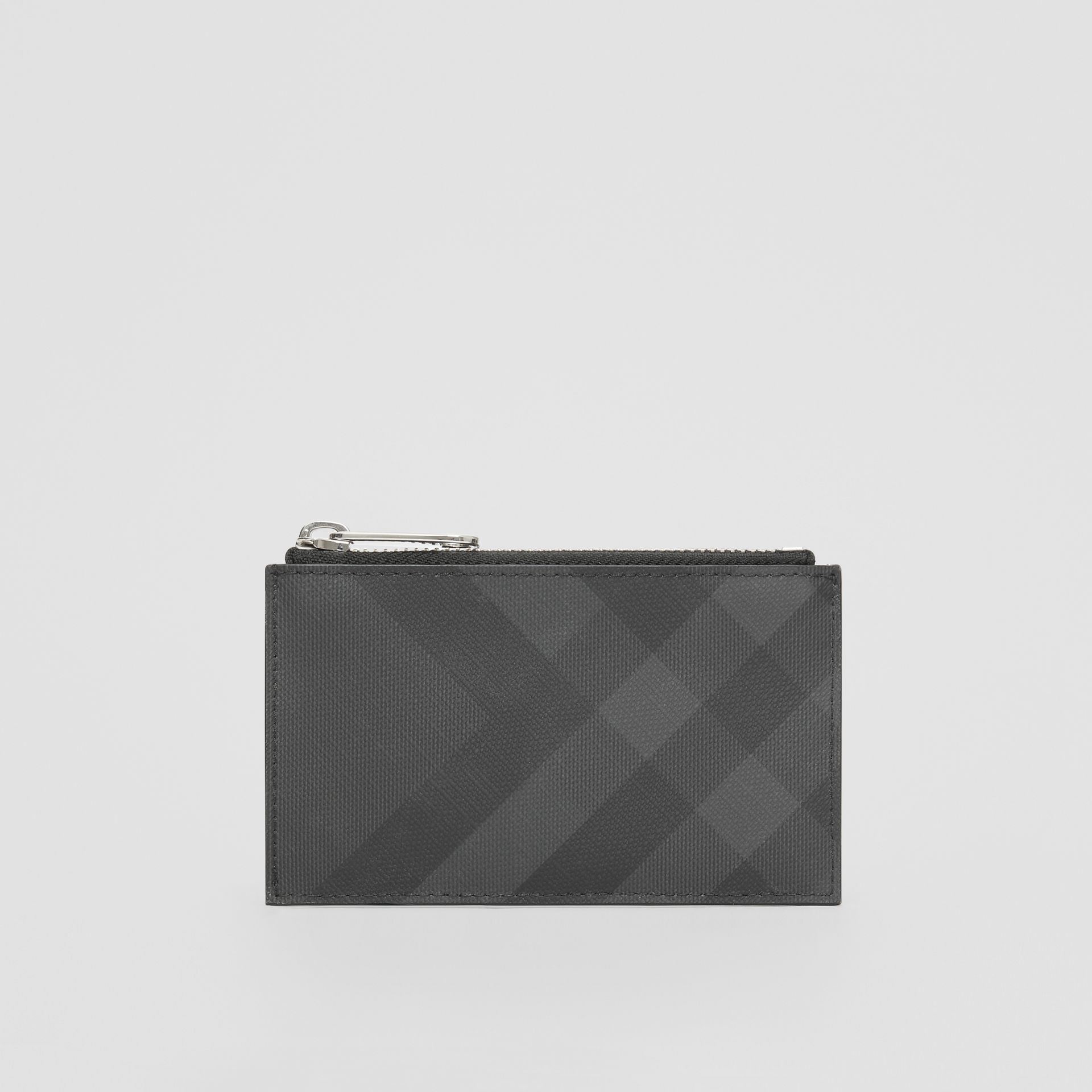 London Check and Leather Zip Card Case in Dark Charcoal - Men | Burberry - gallery image 4