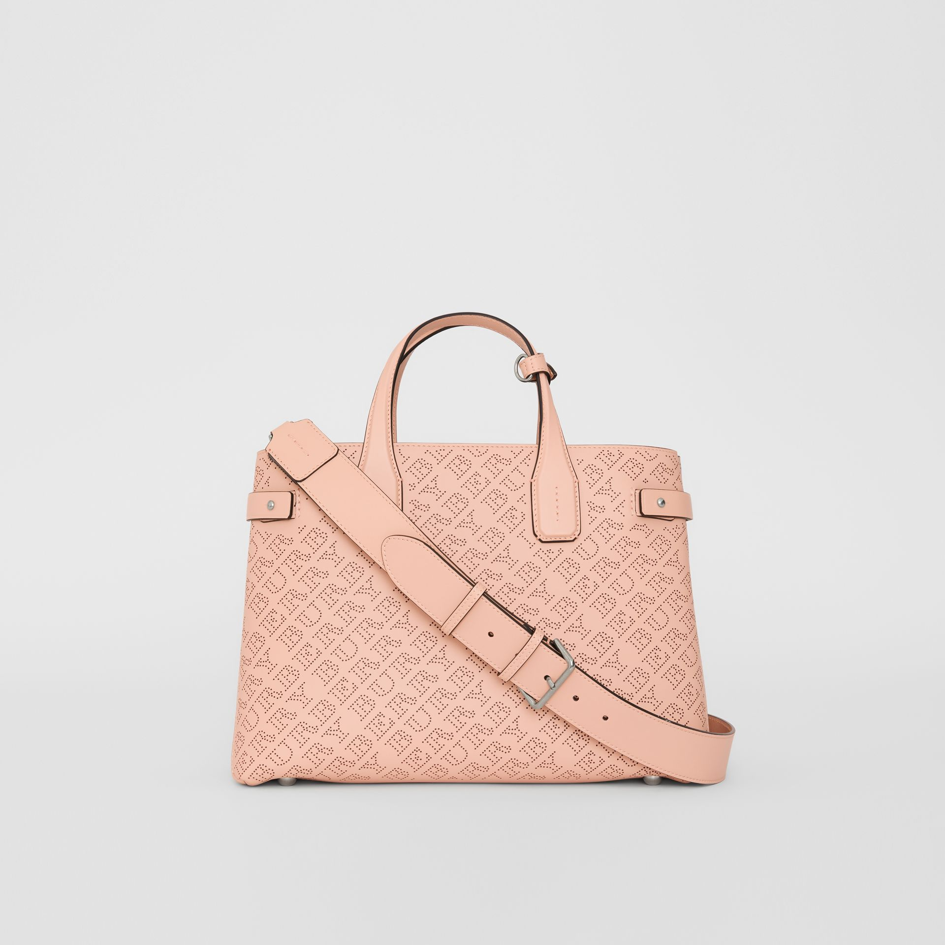 The Medium Banner in Perforated Logo Leather in Pale Fawn Pink - Women | Burberry - gallery image 7