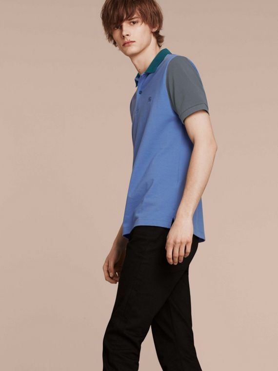 Colour-block Cotton Piqué Polo Shirt Bright Hydrangea Blue