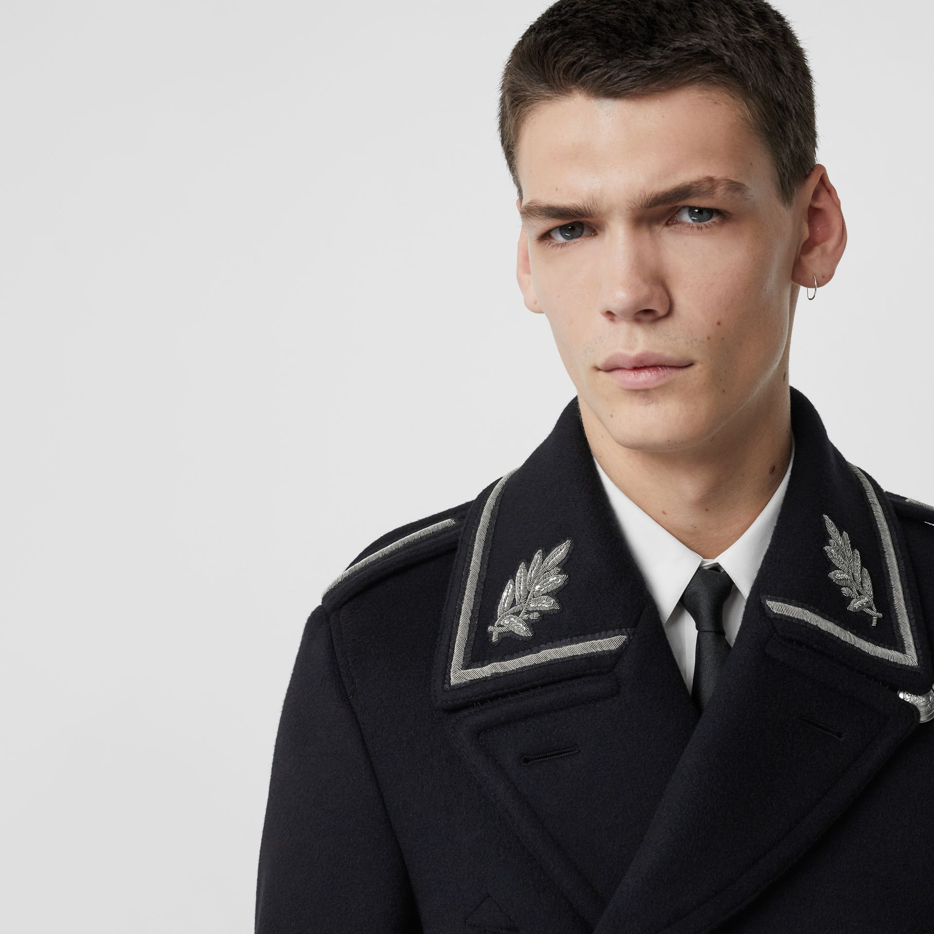 Bullion Wool Cashmere Pea Coat in Dark Navy - Men | Burberry Singapore - gallery image 4