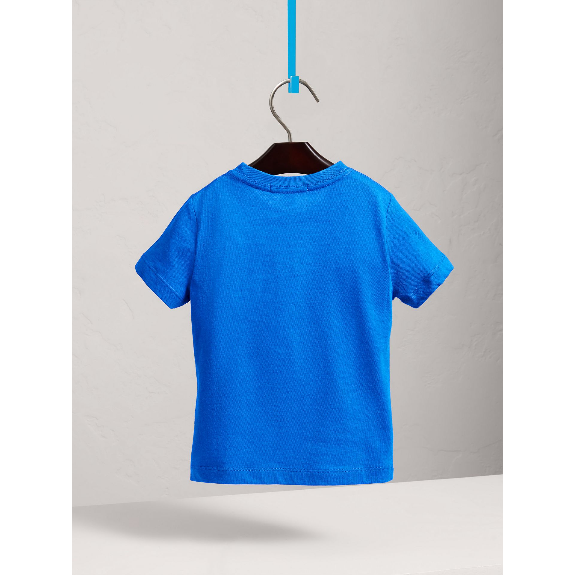 Check Pocket Cotton T-shirt in Cobalt Blue - Boy | Burberry - gallery image 4