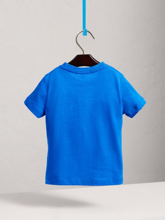 Check Pocket Cotton T-shirt in Cobalt Blue - Boy | Burberry - cell image 3