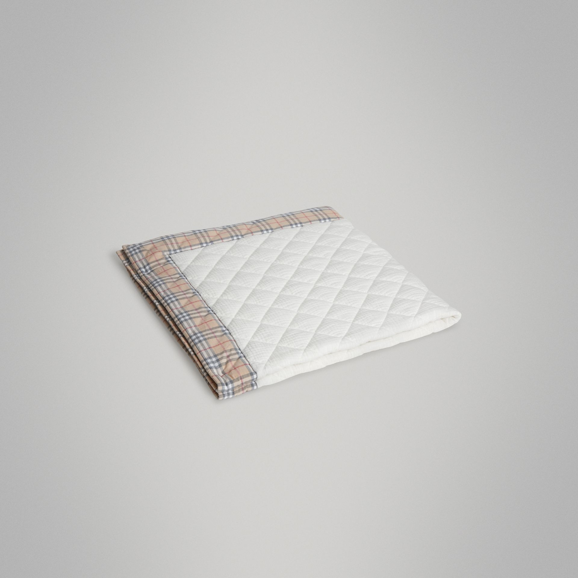 Diamond Quilted Vintage Check Cotton Baby Blanket in White - Children | Burberry United States - gallery image 0