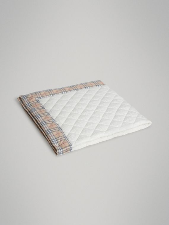 Diamond Quilted Vintage Check Cotton Baby Blanket in White