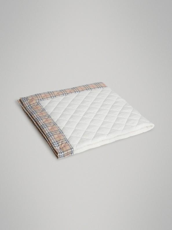 Manta para bebé acolchada a rombos en algodón liso y a cuadros Vintage Checks (Blanco)